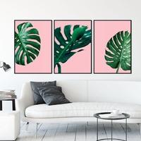 Zestaw trzech plakatów - monstera pink , wymiary - 30cm x 40cm 3 sztuki, kolor ramki - biały