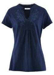 Shirt bawełniany, krótki rękaw bonprix ciemnoniebieski