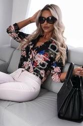 Koszula - body kopertowe z kwiatami, czarna instagram hit, bs10211