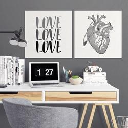 Heart design - komplet dwóch obrazów na płótnie , wymiary - 20cm x 20cm 2 sztuki