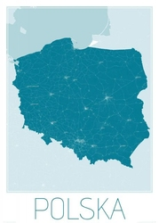 Polska, blue - mapa