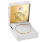 Bransoletka łańcuszek z blaszką złoto 585 z regulacją grawer - białe z różową kokardką