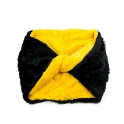 Komin dwukolorowy futrzany czarny żółty zimowy - yellow