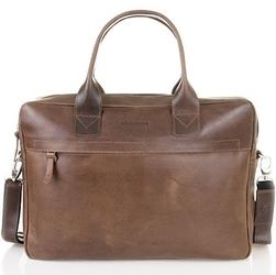 Skórzana torba męska na laptopa brodrene r03 jasnobrązowa - j. brązowy