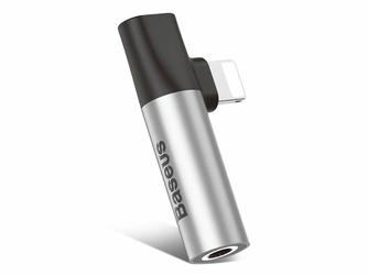 Adapter Baseus Audio mini jack lightning kątowy L43 Srebrny - Srebrny