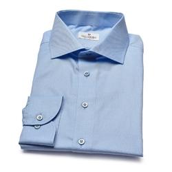 Błękitna koszula VAN THORN z tkaniny typu oksford z włoskim kołnierzykiem 40