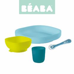 Beaba, Komplet naczyń z silikonu z przyssawką, blue