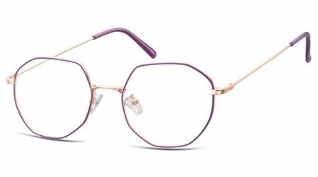 Lenonki sześciokątne oprawki optyczne 925a fioletowo-złote