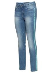 """Dżinsy skinny w krótszej długości, z paskami z boku nogawki bonprix niebieski bleached"""" -  akwamarynowy"""