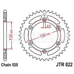 Zębatka tylna stalowa jt 822-41, 41z, rozmiar 520 2300771 husqvarna te 450, husqvarna te 250