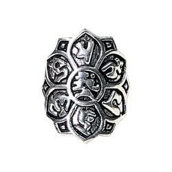 Om mani padme hum - pierścień mosiądz - kolor srebrny