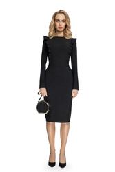 Sukienka ołówkowa z falbankami czarna s077