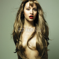 Obraz na płótnie canvas czteroczęściowy tetraptyk Piękna kobieta ze wspaniałymi włosami