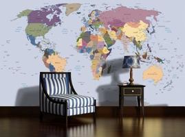Fototapeta polityczna mapa świata flizelinowa xxl 24h