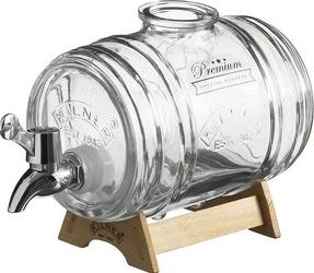 Dystrybutor alkoholu beczułka Kilner ze srebrnym kranikiem