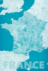 France, modern blue - mapa