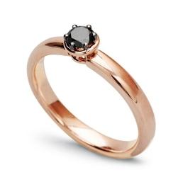 Staviori pierścionek z różowego złota 0,585 1 diament, czarny brylant mephisto, masa 0,25 ct..
