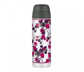 Kubek termiczny ze słomką thermos style 530 ml stalowyszary motyw kwiat wiśni