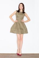 Szykowna oliwkowa sukienka typu princeska