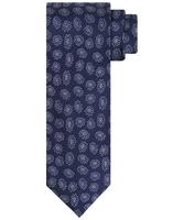 Granatowy krawat w minimalistyczne kwiaty 100 jedwab