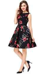 Elegancka sukienka w czerwone róże dla mamy i córki