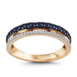Staviori pierścionek złoty pr.0,585, obrączka z rzędem diamentów i szafirów