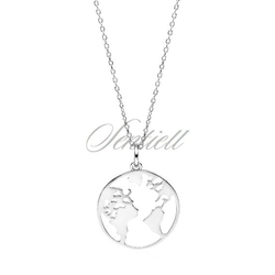 Srebrny naszyjnik pr.925 ziemia  świat  glob - rodowanie