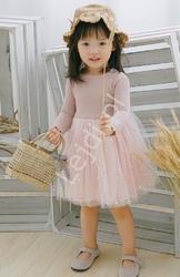 Brudno różowa sukienka dla dziewczynki z spódnicą tutu 078