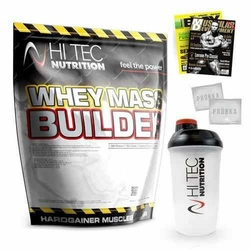 HI-TEC Whey Mass Builder - 3000g 2x1500g + Shaker + Gazeta + Próbki - Strawberry