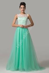 Sukienka na wesele, studniówkę z gipiurą, turkusowa
