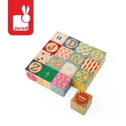 Klocki drewniane kubix 16 sztuk alfabet, janod
