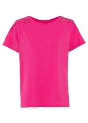 Shirt z koronkową wstawką bonprix różowy