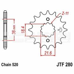 Zębatka przednia JT F280-13, 13Z, rozmiar 520 2200435 Honda NX 250