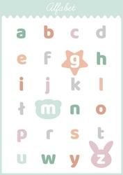 Słodki alfabet miętowy - plakat wymiar do wyboru: 50x70 cm