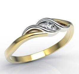 Pierścionek zaręczynowy z żółtego i białego złota z brylantem lp-9306zb - żółte i białe złoto z brylantem 0,06 ct