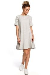 Romantyczna jasnoszara sukienka z wiązaniem na karku o kroju litery a