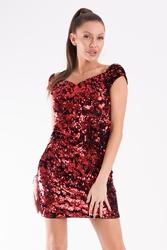 Evalola sukienka cekiny czerwony 54005-1