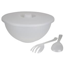 Miska plastikowa z pokrywą + łyżka i widelec do sałaty sagad 3,6 l biała