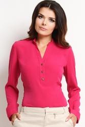 """Różowa elegancka koszulowa bluzka z dekoltem """"v"""" z guziczkami"""
