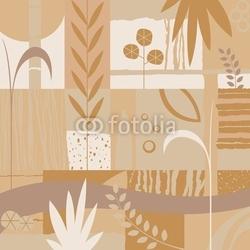 Board z aluminiowym obramowaniem dekoracyjny design z roślinami