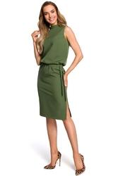 Zielona midi sukienka na stójce bez rękawów