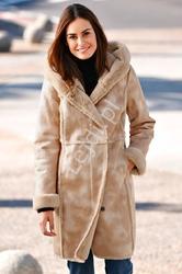 Płaszcz damski plus size z sztucznym futrem w środku, ciepły i bardzo elegancki kożuch lura kent