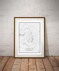 Sofia, bułgaria mapa czarno biała - plakat wymiar do wyboru: 40x50 cm