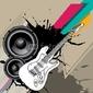 Obraz na płótnie canvas czteroczęściowy tetraptyk tło miejskie z gitarą elektryczną.