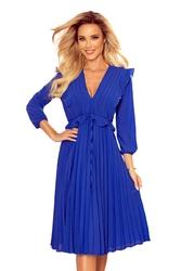 Sukienka szyfonowa z plisami - chabrowa