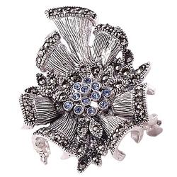 Jane blue srebrna broszka markazyty i cyrkonie kotylion
