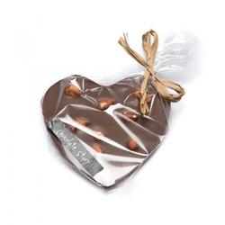 Czekoladowe serce z orzechami laskowymi - wyjątkowe serce z mlecznej, intensywnie kakaowej czekolady z dodatkiem orzechów laskowych, 100  naturalne składniki, czekolada rzemieślnicza