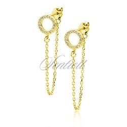 Srebrne 925 pozłacane kolczyki - kółeczko z cyrkoniami i łańcuszkiem - żółte złoto