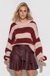 Sweter w szerokie różowo-bordowe pasy