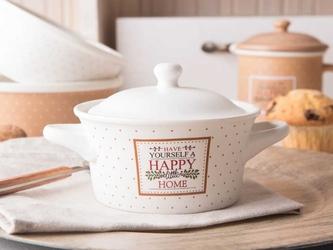 Kokilka z pokrywką  naczynie  ramekin porcelana altom design happy home 13 cm, kremowa w kropki